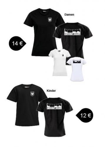 T-Shirts mit Rundhals und  V-Ausschnitt für Damen und Kinder